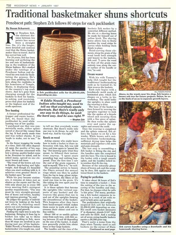 Woodshop News  - January 1997 - Stephen Zeh Traditional Basketmaker