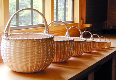 Nest of Seven Swing Handle Baskets- by Stephen Zeh, Maine basket maker